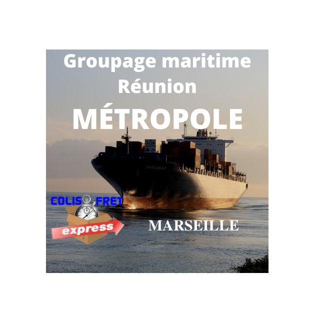 Marseille depuis la Réunion, fret Maritime 1 M3 - dédouané, remise a quai, hors droits et taxes