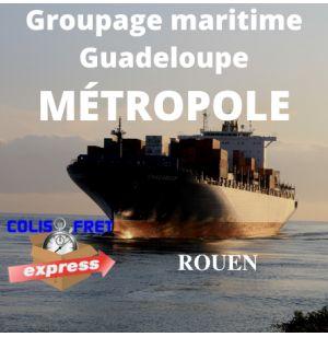 Rouen depuis la Guadeloupe, fret Maritime 1 M3 - dédouané, remise a quai, hors droits et taxes / hors crédit d'enlèvement 1,5 %