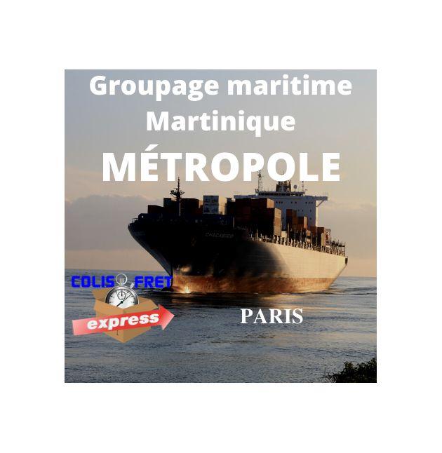 Paris depuis la Guadeloupe, fret Maritime 1 M3 - dédouané, remise a quai, hors droits et taxes / hors crédit d'enlèvement 1,5 %