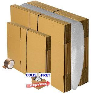 Kit de déménagement 15 cartons standard 56 x 36 x 28 cm+ 10 cartons livres 36 x 28 x 28 cm + 10 mètres de papier bulles + 1 adhé